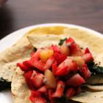 Squash Blossom and Kale Quesadillas with Strawberry Kiwi Salsa