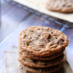Roasted Almond, Chocolate Chip, and Cacao Nib Cookies with Smoked Sea Salt