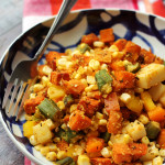 Cajun Sweet Potato Salad with Cornmeal-Crusted Okra, Corn and Bell Peppers