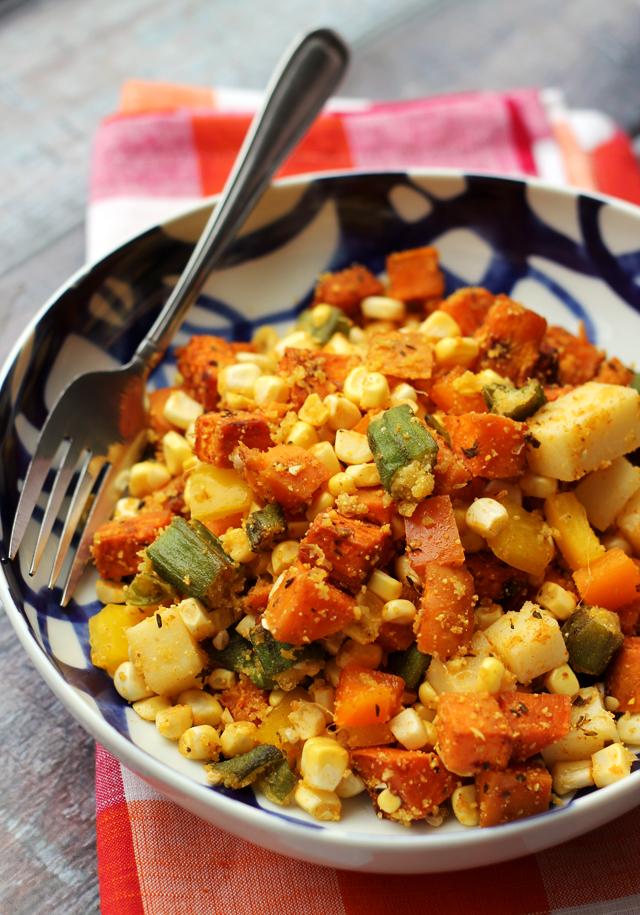 cajun sweet potato salad with cornmeal-crusted okra, corn and bell peppers