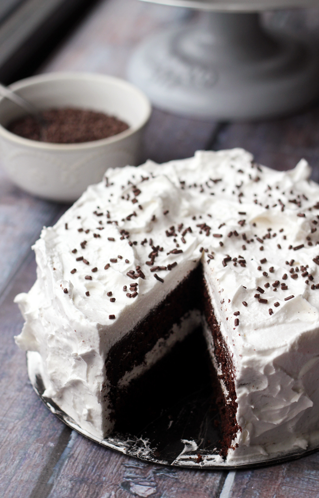 devil's food cake with angel frosting