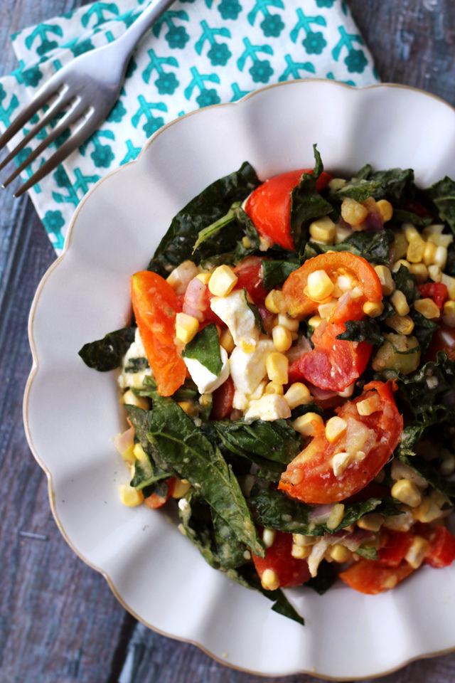 golden corn salad with tomatoes, mozzarella, and fresh basil