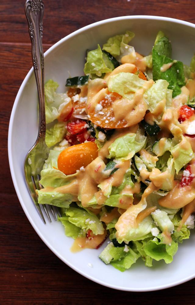 greek salad with hummus dressing