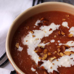 Peach Watermelon Gazpacho with Feta Crema
