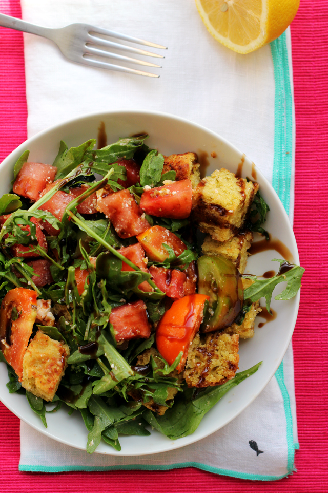 summer panzanella with watermelon, pesto cornbread, and feta
