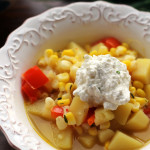 summer vegetable corn chowder with chive ricotta