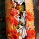 Baked Falafel Hoagies with Harissa Tomato Sauce and Tzatziki