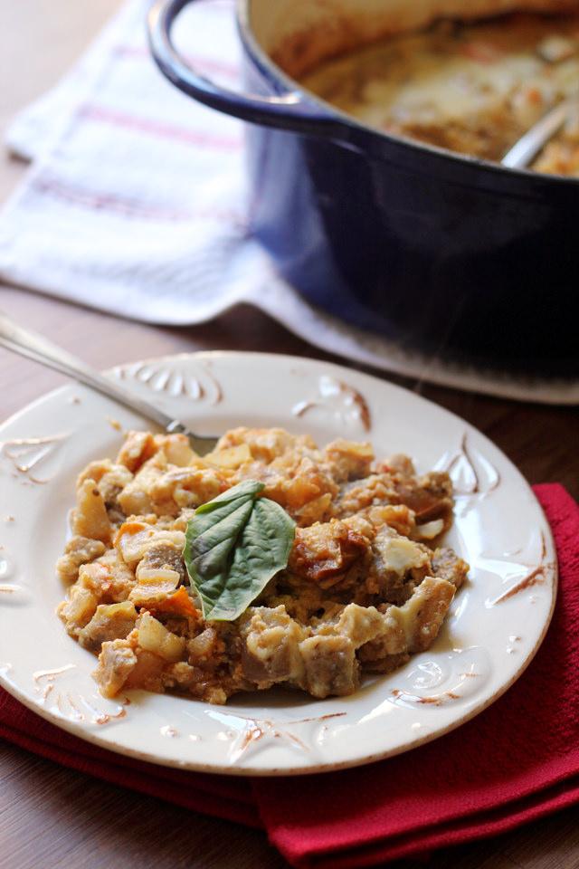 eggplant gratin in parmesan custard