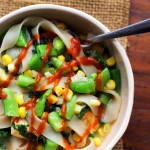 Miso Noodle Soup with Corn, Kale, and Snap Peas
