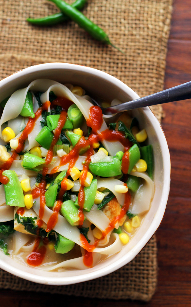miso noodle soup with corn, kale and snap peas