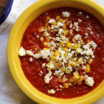 Roasted Red Pepper Soup with Corn and Feta