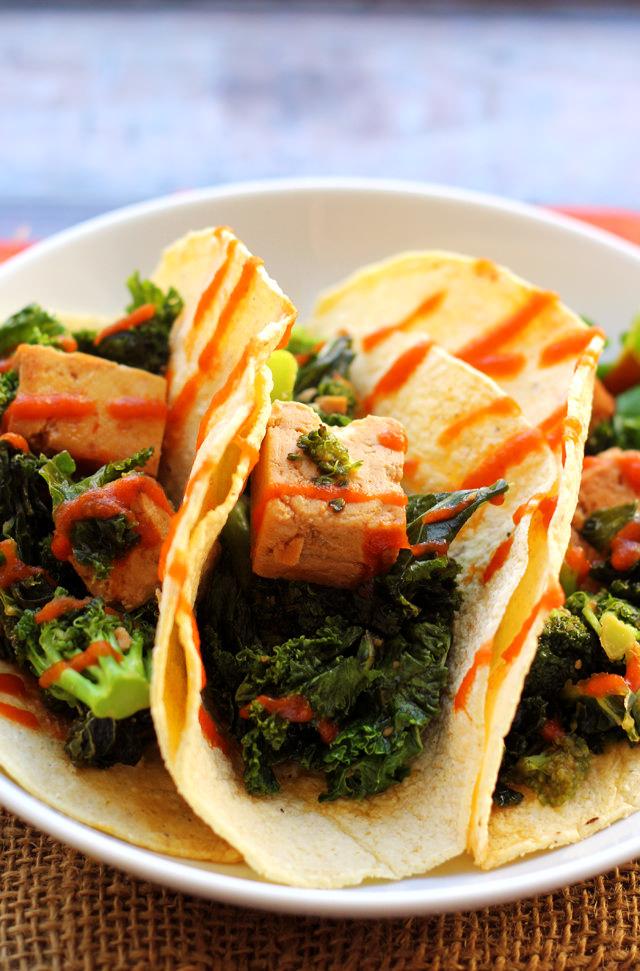 tofu, broccoli, and kale teriyaki tacos