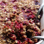 baked raspberry oatmeal with brown butter drizzle