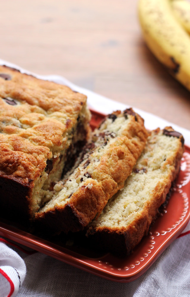 good things come together in this bourbon chocolate chip banana bread ...
