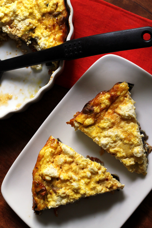 roasted eggplant, tomato, and ricotta fritatta