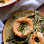 Smoky String Bean Casserole with Sriracha Buttermilk Onion Rings