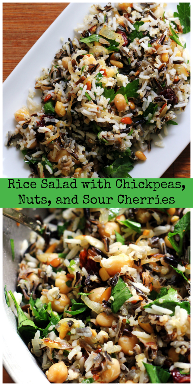 rice salad with chickpeas, nuts, and sour cherries
