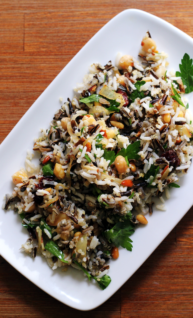 rice salad with nuts, chickpeas, and sour cherries