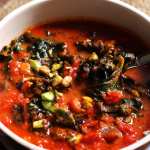 Tomato Soup with Brown Butter, Kale, and Pistachios