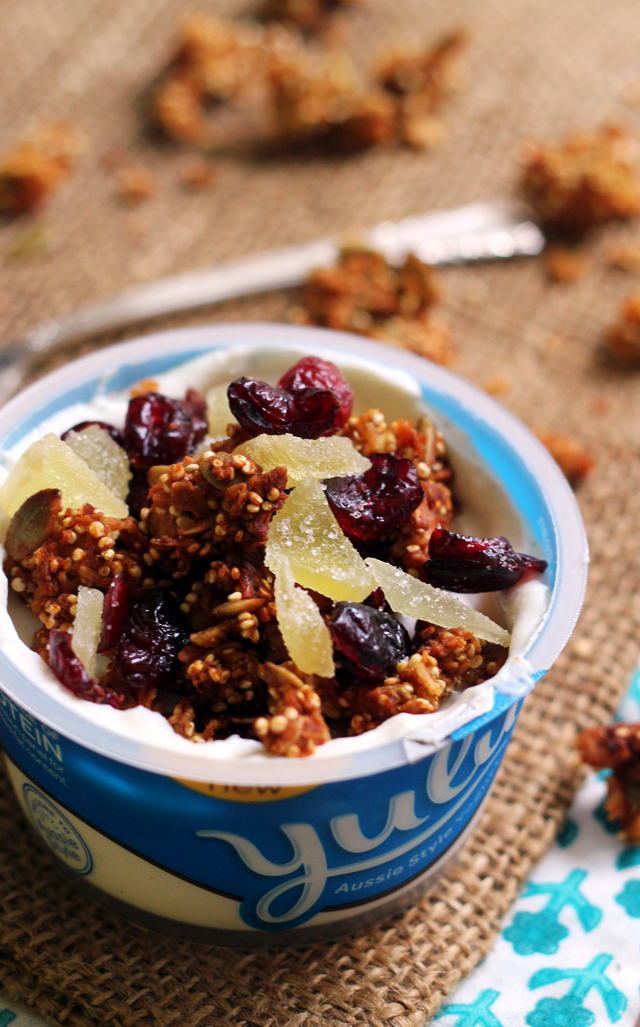 candied ginger, almond, and quinoa granola