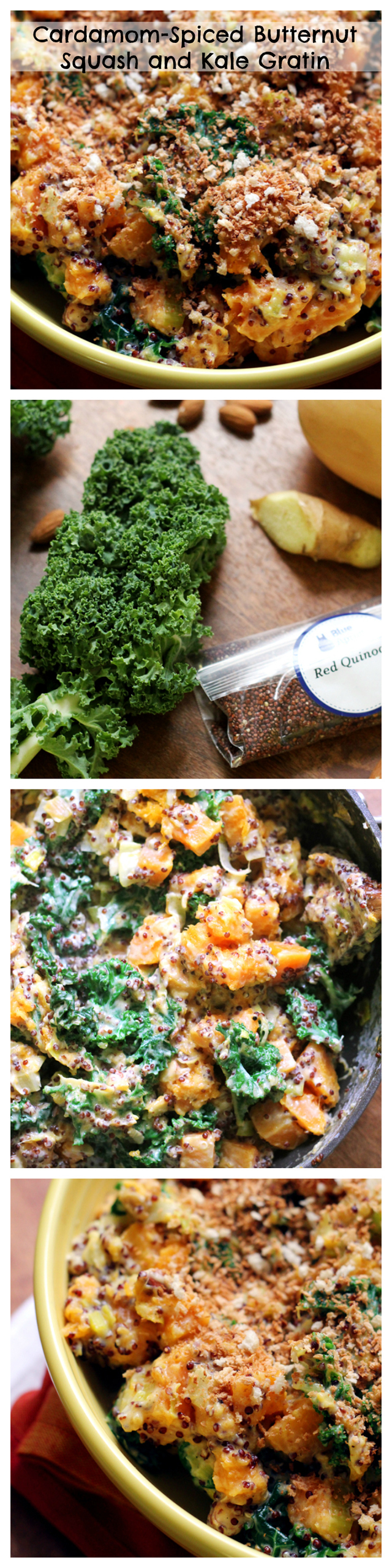 cardamom spiced butternut squash and kale gratin collage