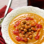 Carrot, Squash, and Coriander Soup with Crunchy Harissa Chickpeas