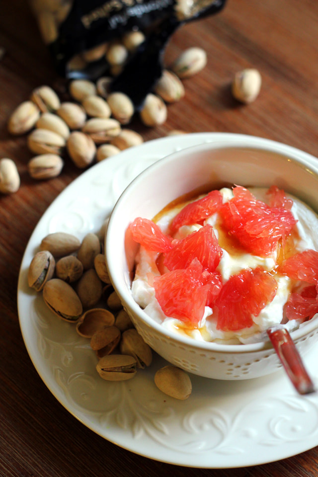 honey grapefruit, yogurt, and pistachios