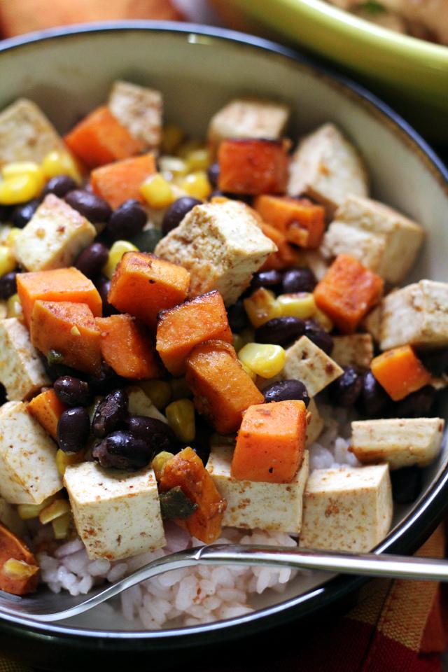 tofu, sweet potato and black bean vegetarian burrito bowls