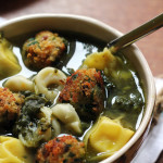 Italian wedding soup with veggie balls