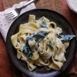 pappardelle with kale and creamy parmesan garlic sauce