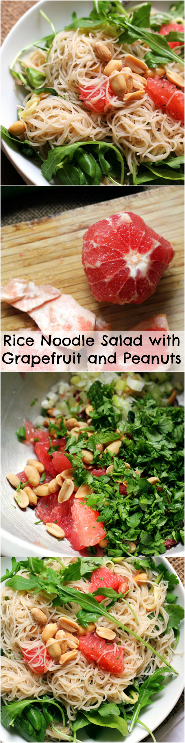 rice noodle salad with grapefruit and peanuts