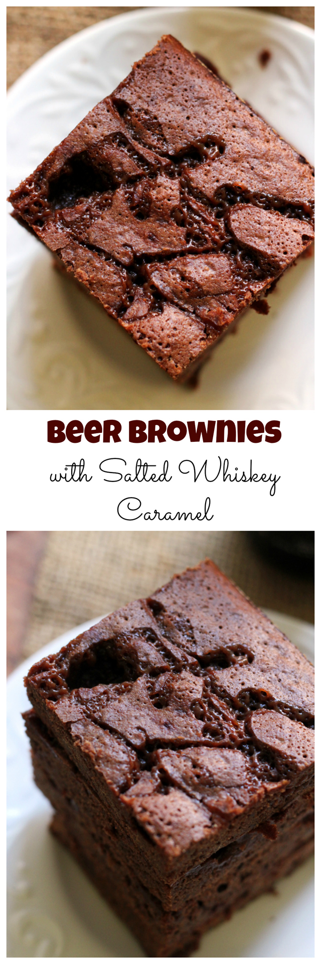 beer brownies with salted whiskey caramel