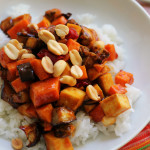 crispy kung pao tofu and vegetable stir fry