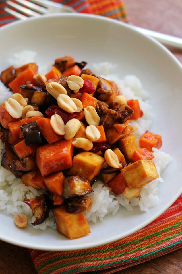 crispy kung pao tofu and vegetable stir fry