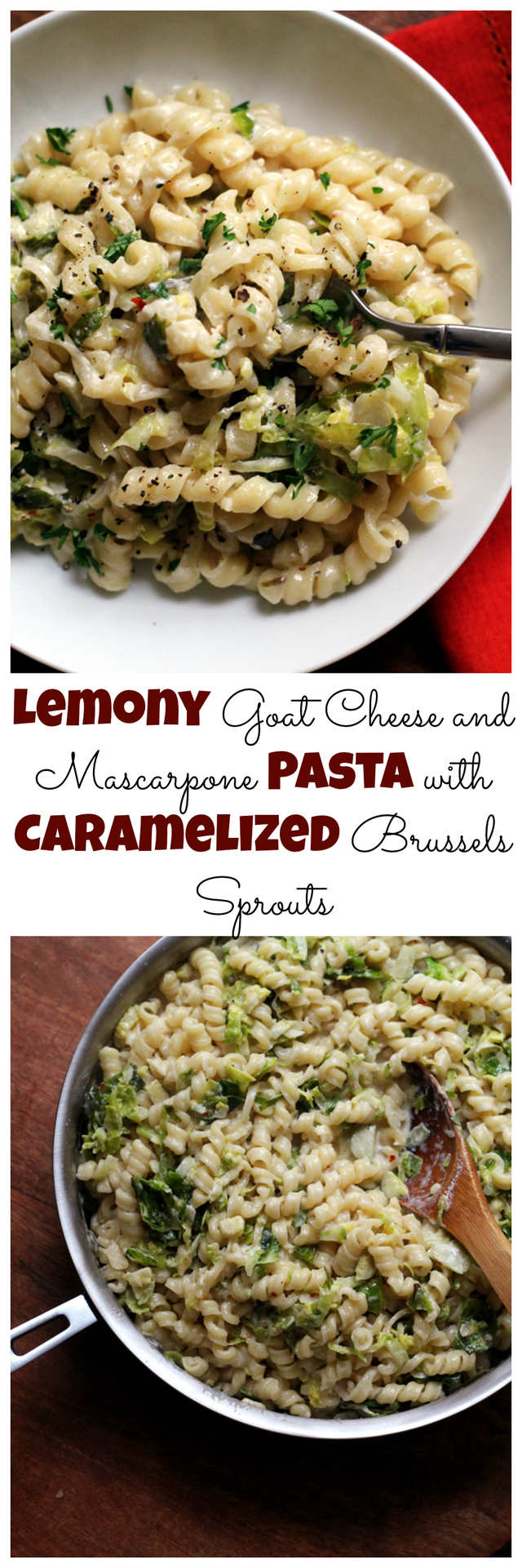 lemony goat cheese and mascarpone pasta with caramelized brussels sprouts