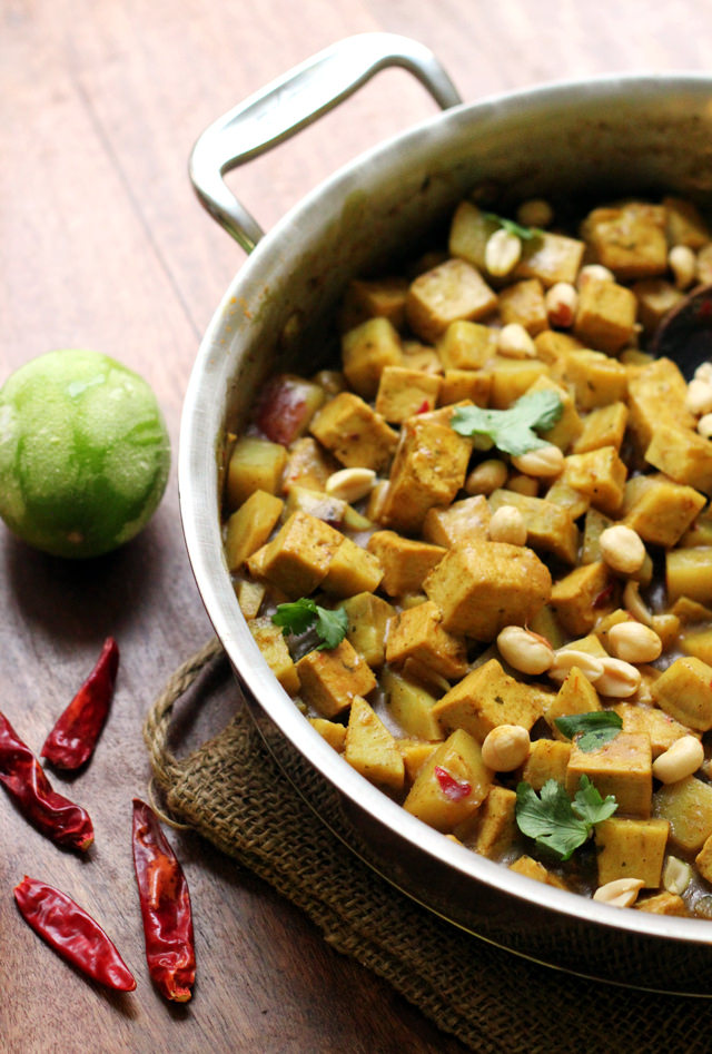 massaman curry with peanuts, potatoes, and cardamom