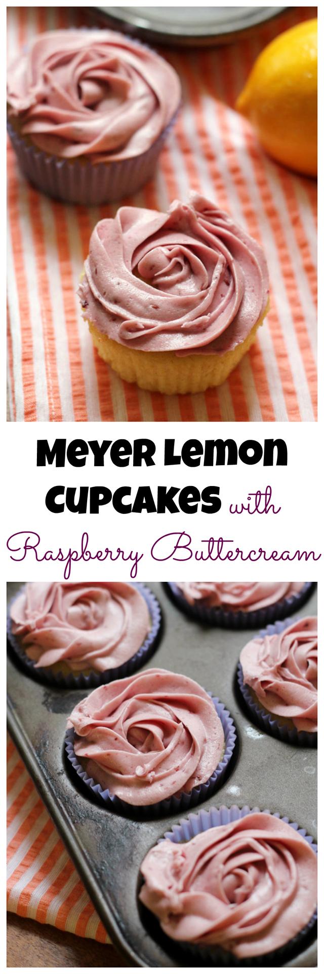 meyer lemon cupcakes with raspberry buttercream