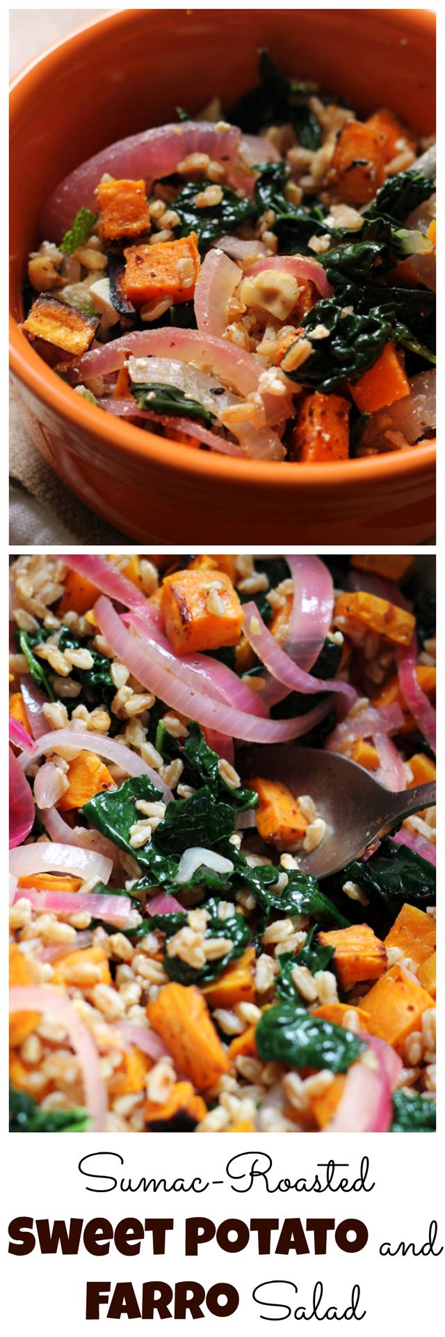 sumac-roasted sweet potato and farro salad