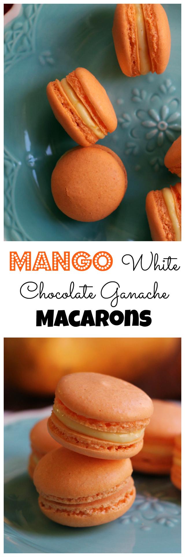 mango white chocolate ganache macarons