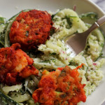 Tomatokeftedes with Cauliflower Tabbouleh Salad