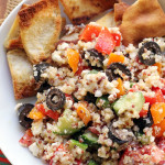 greek super grains salad with homemade pita chips