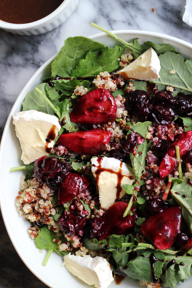 roasted berry and brie kale salad
