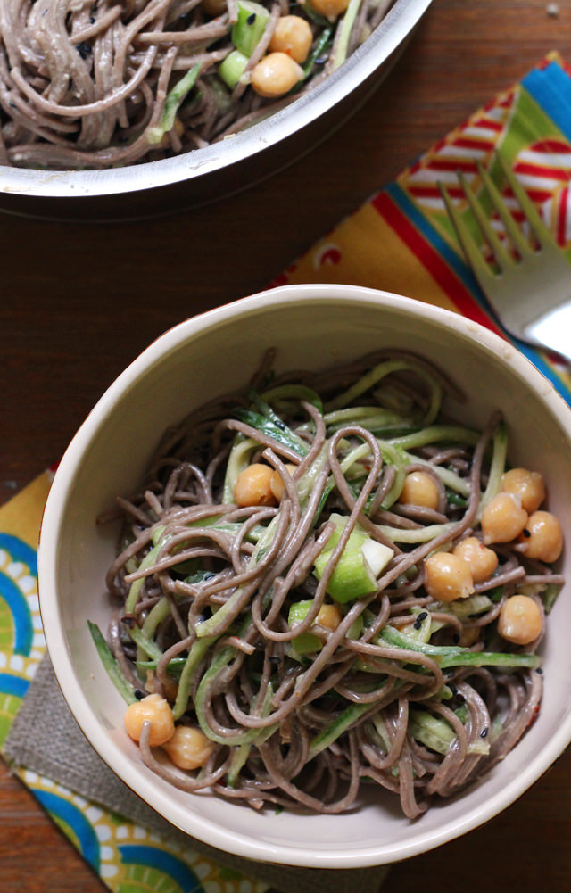 tahini miso and cucumber soba noodles