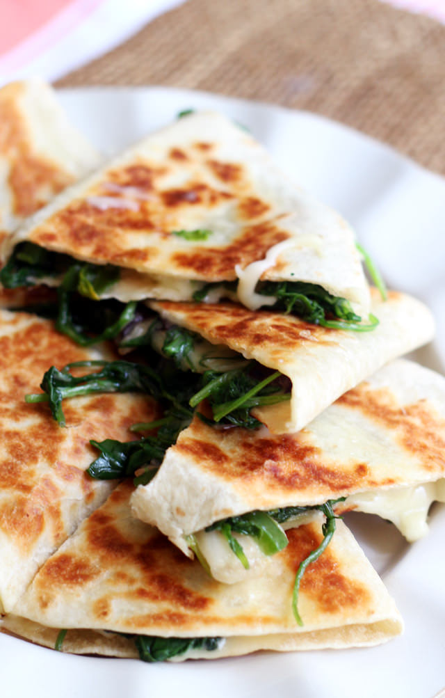 greens, jalapeno, and brie quesadillas