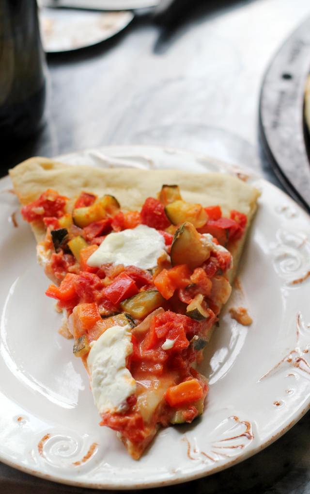 penne a la vodka pizza with burrata
