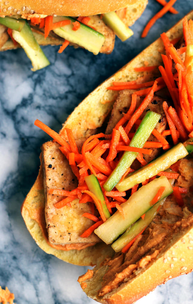 vegetarian tofu banh mi with spicy peanut sauce