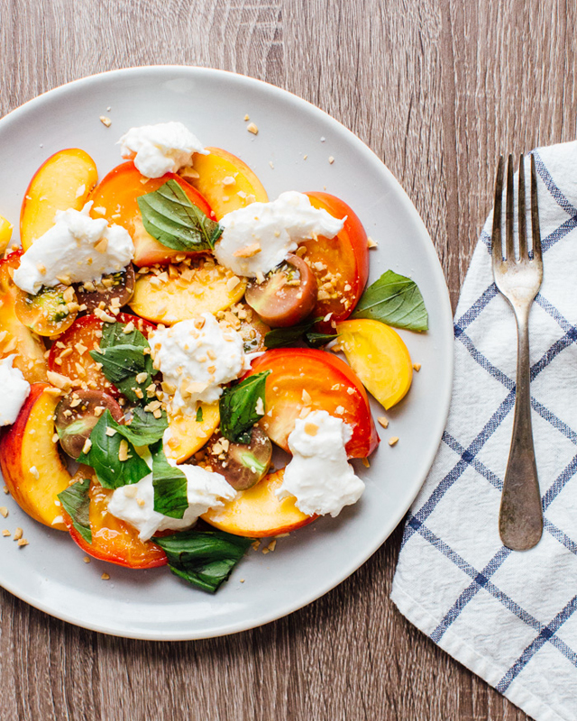 Peach, Heirloom Tomato, and Burrata Salad from A Couple Cooks