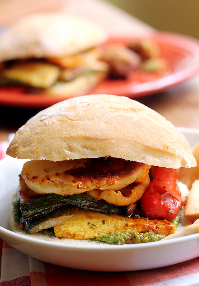 halloumi and roasted summer vegetable sandwiches