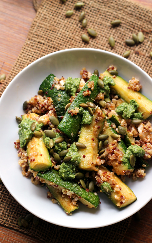 roasted zucchini and quinoa bowls with cilantro pepita pesto