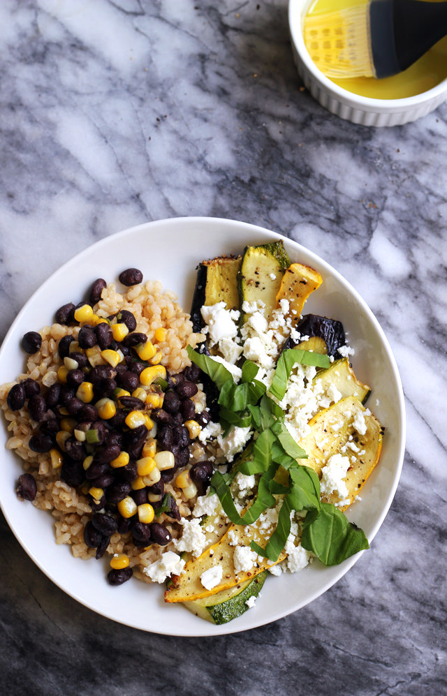 Summer Vegetable Stacks with Black Beans, Corn, and Goat Cheese